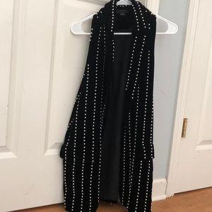Alexander Wang Black Velvet & Pearl Vest